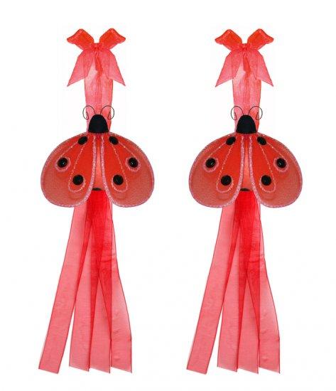 Red Shimmer Ladybug Curtain Tieback Pair / Set - holder tiebacks tie backs nursery bedroom decor dec
