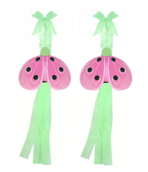 Green Pink Shimmer Ladybug Curtain Tieback Pair / Set - holder tiebacks tie backs nursery bedroom de