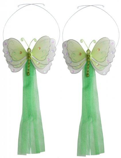 Green Multi-Layered Butterfly Curtain Tieback Pair / Set - holder tiebacks tie backs nursery bedroom