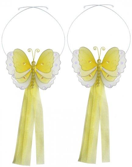 Yellow Multi-Layered Butterfly Curtain Tieback Pair / Set - holder tiebacks tie backs nursery bedroo