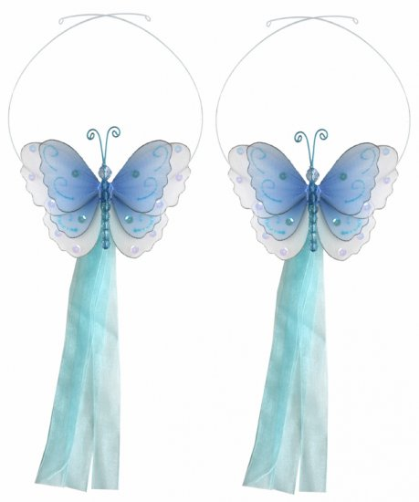 Blue Multi-Layered Butterfly Curtain Tieback Pair / Set - holder tiebacks tie backs nursery bedroom
