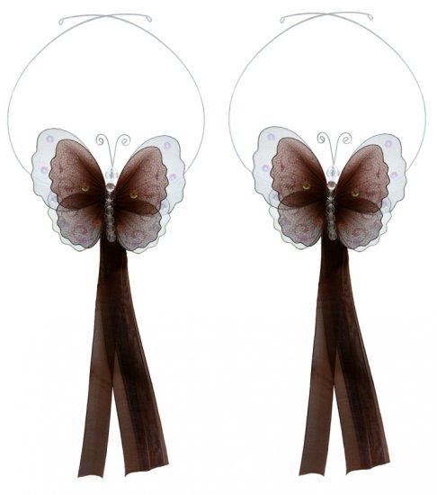 Brown Multi-Layered Butterfly Curtain Tieback Pair / Set - holder tiebacks tie backs nursery bedroom