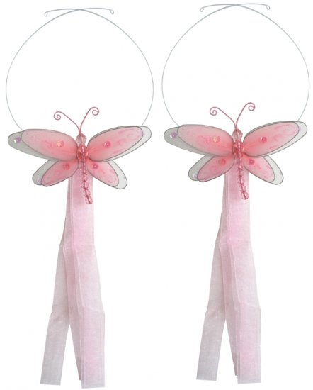 Pink Multi-Layered Dragonfly Curtain Tieback Pair / Set - holder tiebacks tie backs nursery bedroom