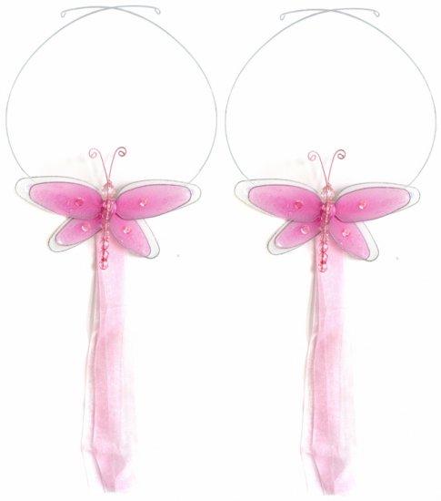 Dark Pink (Fuschia) Multi-Layered Dragonfly Curtain Tieback Pair / Set - holder tiebacks tie backs n
