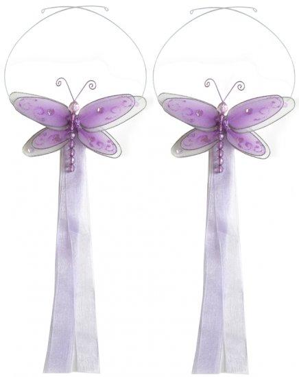 Purple Multi-Layered Dragonfly Curtain Tieback Pair / Set - holder tiebacks tie backs nursery bedroo