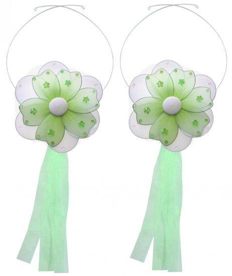 Green Multi Layered Daisy Flower Curtain Tieback Pair / Set - holder tiebacks tie backs nursery bedr