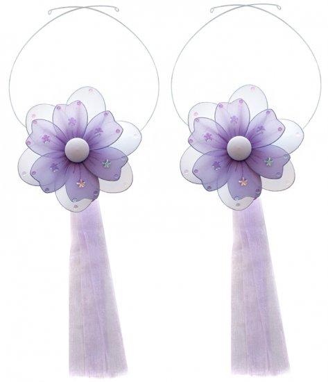 Purple Multi Layered Daisy Flower Curtain Tieback Pair / Set - holder tiebacks tie backs nursery bed