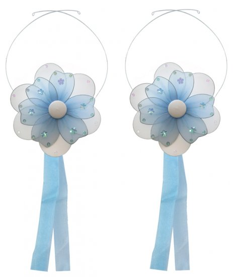 Blue Multi Layered Daisy Flower Curtain Tieback Pair / Set - holder tiebacks tie backs nursery bedro