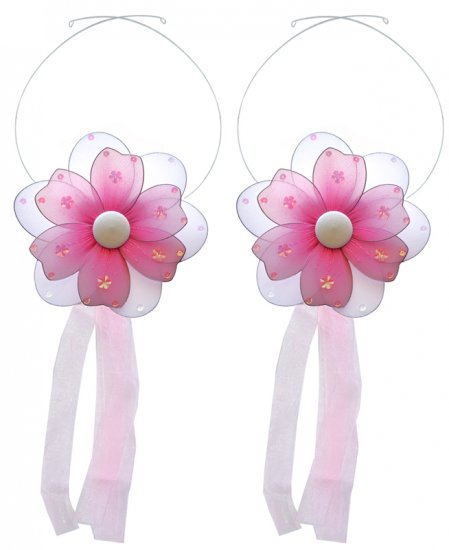 Dark Pink (Fuschia) Multi Layered Daisy Flower Curtain Tieback Pair / Set - holder tiebacks tie back