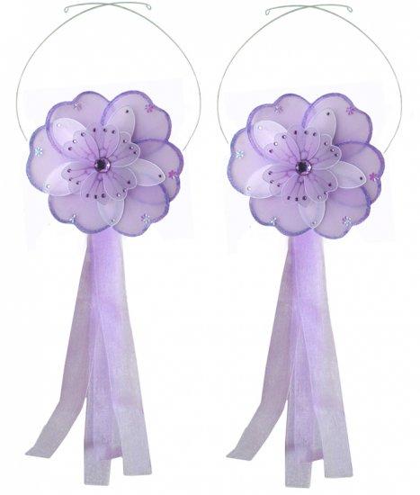Purple White Triple Layered Daisy Flower Curtain Tieback Pair / Set - holder tiebacks tie backs nurs