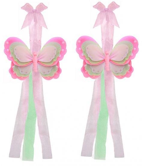 Dark Pink Green Pink Triple Layered Butterfly Curtain Tieback Pair / Set - holder tiebacks tie backs