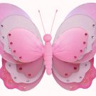 "7"""" Dark Pink (Fuschia) & White Triple Layered Butterfly - nylon hanging ceiling wall nursery bedroo"