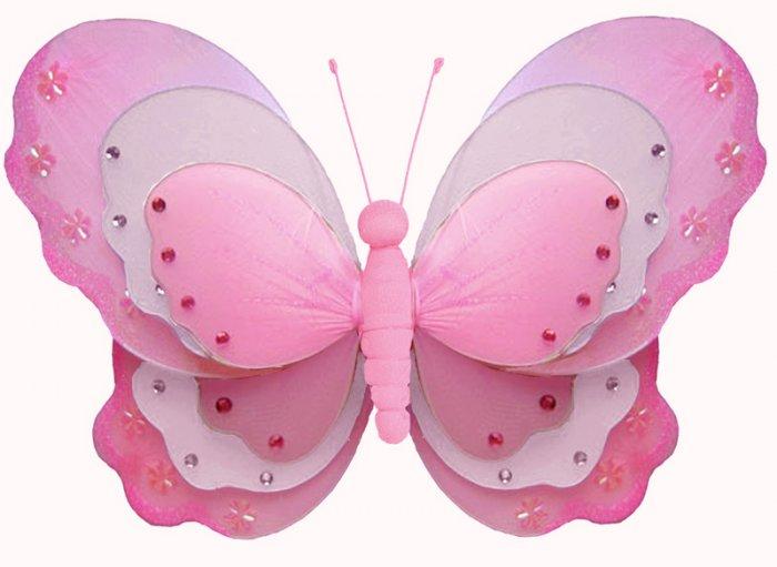 "10"""" Dark Pink (Fuschia) & White Triple Layered Butterfly - nylon hanging ceiling wall nursery bedro"