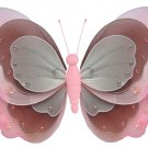 "7"""" Pink, Brown & White Triple Layered Butterfly - nylon hanging ceiling wall nursery bedroom decor"