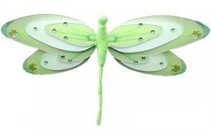 "13"""" Green & White Triple Layered Dragonfly - nylon hanging ceiling wall nursery bedroom decor decor"