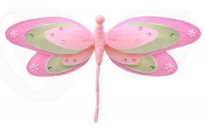 "13"""" Dark Pink (Fuschia), Green & Pink Triple Layered Dragonfly - nylon hanging ceiling wall nursery"