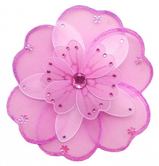 "6"""" Dark Pink (Fuschia) & White Triple Layered Daisy Flower - nylon hanging ceiling wall nursery bed"