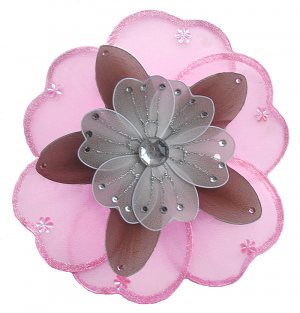 "6"""" Pink, Brown & White Triple Layered Daisy Flower nylon hanging ceiling wall baby nursery room dec"