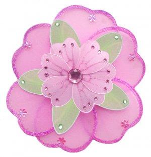 "6"""" Dark Pink (Fuschia), Green & Pink Triple Layered Daisy Flower - nylon hanging ceiling wall nurse"
