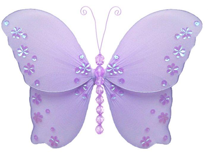 "10"""" Purple Twinkle Bead Sequin Butterfly - nylon hanging ceiling wall nursery bedroom decor decorat"
