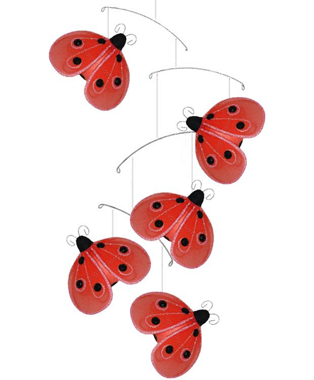 "24"""" Red Black Shimmer Ladybug Mobile - nylon hanging ceiling wall nursery bedroom decor decoration"