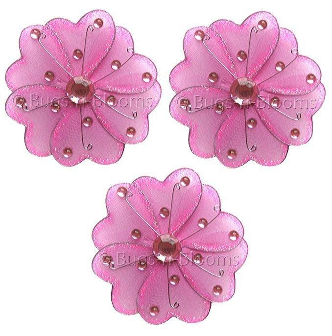 "3"""" Dark Pink (Fuschia) Mini Wire Bead Dragonfly Dragonflies 3pc set - nylon hanging ceiling wall nu"