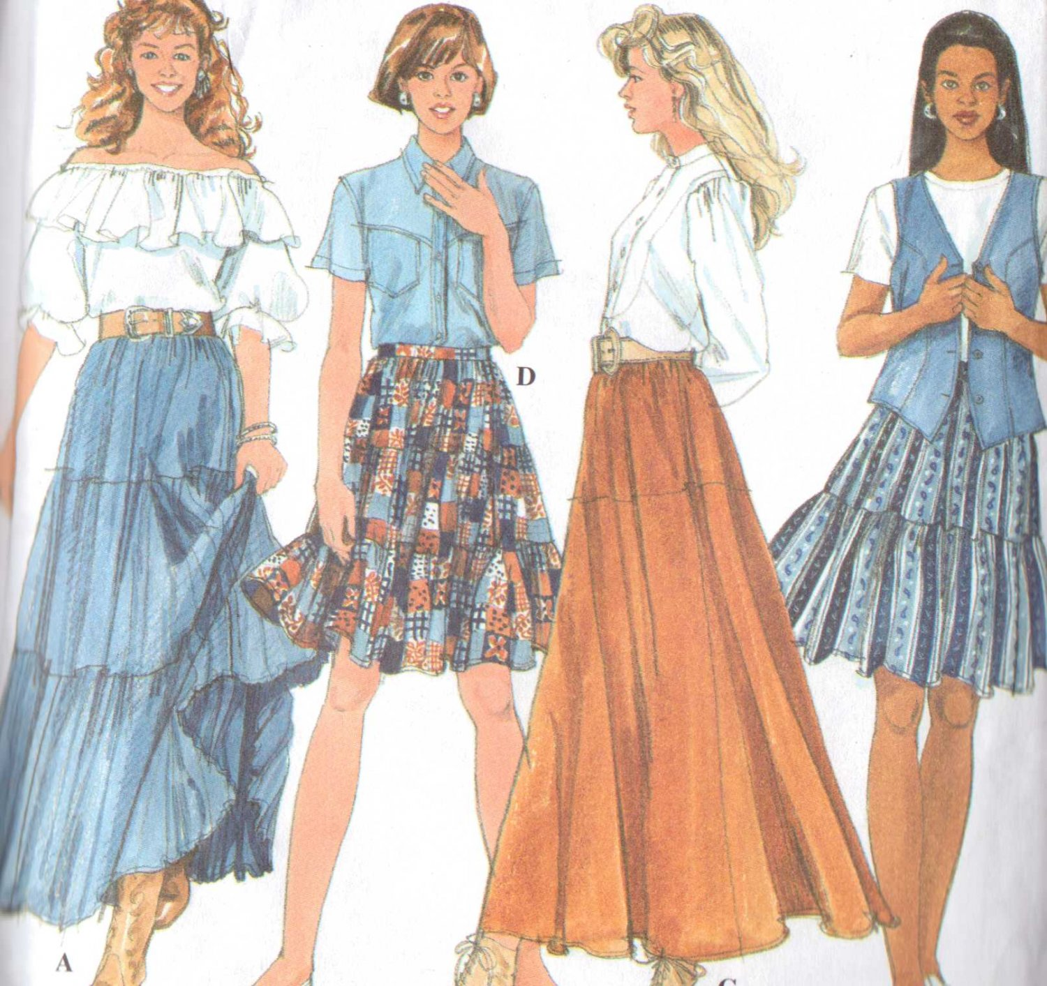 Simplicity sewing pattern 7520 misses Tiers skirts Size 8-12 uncut