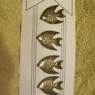Vintage button covers 4 metal fish hand crafted in Texas