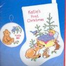 "Dimensions kit woodland babies1st  Christmas Stocking 8"" NIP"
