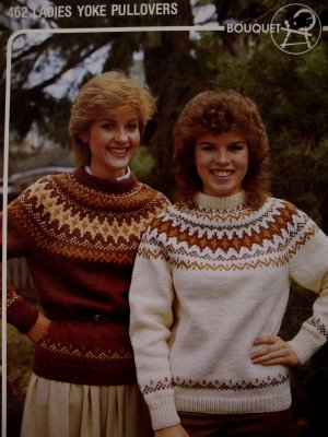 Ladies Yoke Pullover Sweater Knitting Pattern Bouquet
