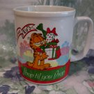 Vintage Garfield Christmas Shop Til You Drop Souvenir Coffee Tea Cup Mug Enesco
