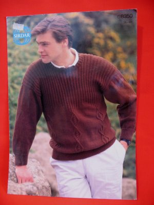 Sirdar Fashion Knitting Pattern Pullover Sweater Men's Adult