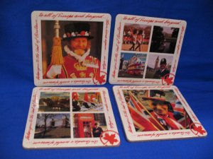 Air Canada to Britain British Guards Flags Pictures Beer Coaster Souvenir set of 4