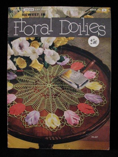 Vintage 1950 Crochet Pattern Magazine Floral Flower Doily Doilies