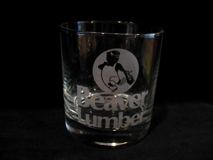 Vintage Beaver Lumber Store Obsolete Advertising Souvenir Collector Glass