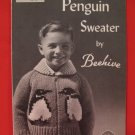 Vintage Chieftain Beehive Penguin Cardigan Sweater Knitting Pattern Childrens 2 - 6