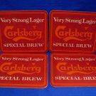 Vintage Carlsberg Lager Beer Drink Coaster Souvenir set of 4