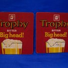 Vintage Trophy Bitter Big Head Lager Ale Beer Drink Coaster Souvenir set of 2