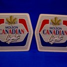Genuine Molson Canadian Light Beer Drink Coasters Souvenir set of 2