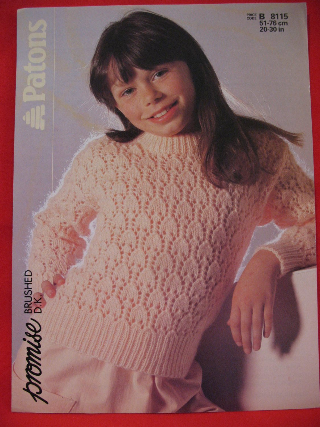 Vintage Patons Lacy Sweater Knitting Pattern Children Sizes 20 - 30 Inches