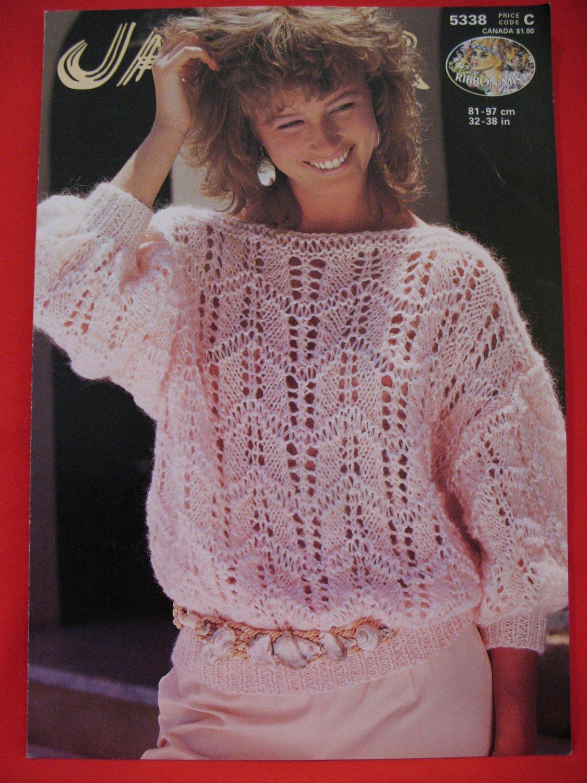 Vintage Jaeger Slash Neck Sweater Knitting Pattern Ladies Sizes 32 - 38