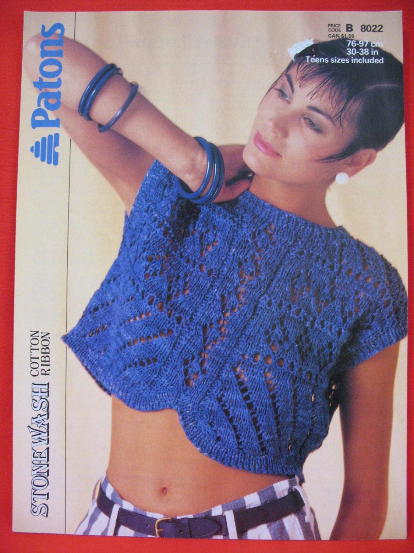 Vintage Patons Eyelet Pattern Crop Sweater Top Knitting Pattern Ladies Sizes 30 - 38