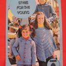 Patons Crochet and Knitting Patterns Crocheted Poncho Knitted Denim Shirt Children Sizes 4 - 14