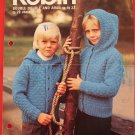 Robin Aran Arran Sweater Jacket Hood Knitting Pattern Children Sizes 22 - 28 Inches