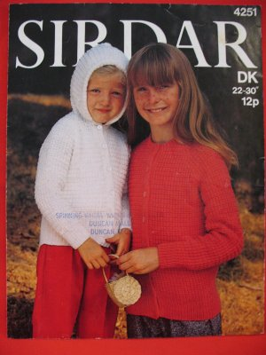 Sirdar Cardigan Sweater Hood Knitting Pattern Children Sizes 22 - 30 Inches