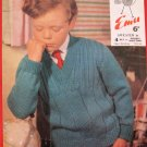 Vintage Emu 4 Ply or Double Knitting Pattern Boys Sweater Children Sizes 26 - 34 Inches