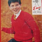 Vintage Emu 3 or 4 Ply or Double Knitting Pattern Boys Sweater Children Sizes 24- 34 Inches