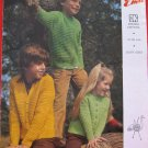 Vintage Emu Double Knitting Pattern Childrens Zipper or Cardigan Sweaters Sizes 22 - 35 Inches