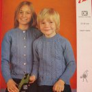 Vintage Emu Double Knitting Pattern Childrens Pullover Jumper Cardigan Sweaters Sizes 22 - 36 Inches