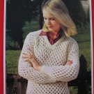 "Patons Lady's Lacy Sweater Drop Shoulders Knitting Pattern Ladies Sizes 32"" - 40"""